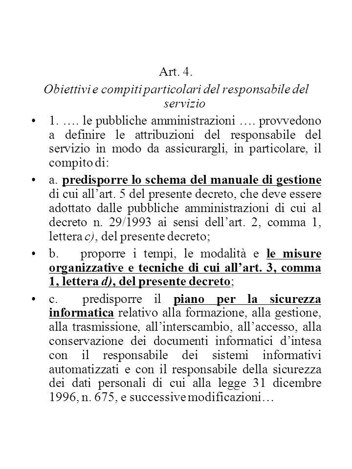 Art. 4. Obiettivi e compiti particolari del responsabile del servizio 1. …. le pubbliche amministrazioni …. provvedono a definire le attribuzioni del