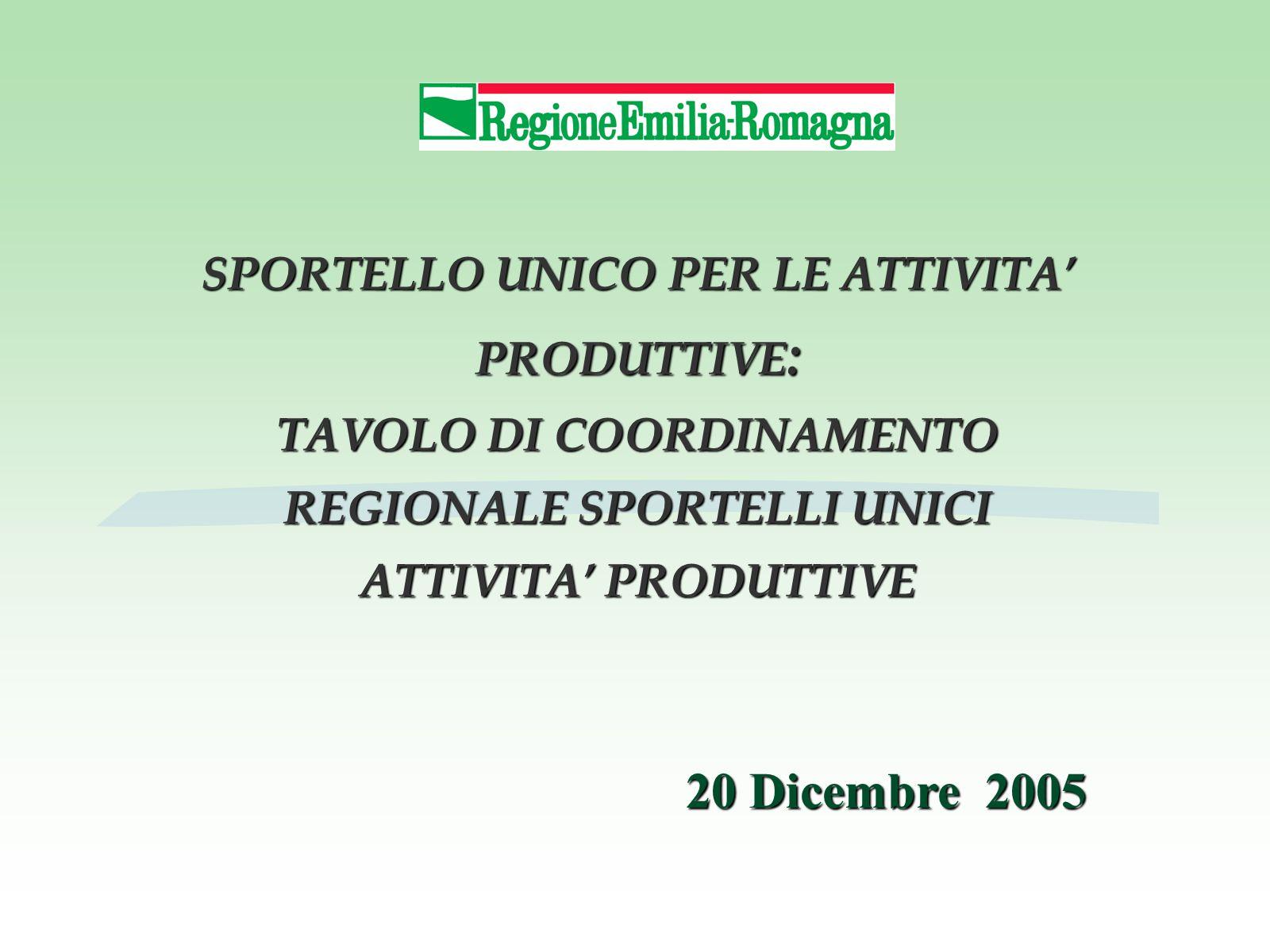 SPORTELLO UNICO PER LE ATTIVITA' PRODUTTIVE : TAVOLO DI COORDINAMENTO REGIONALE SPORTELLI UNICI ATTIVITA' PRODUTTIVE 20 Dicembre 2005