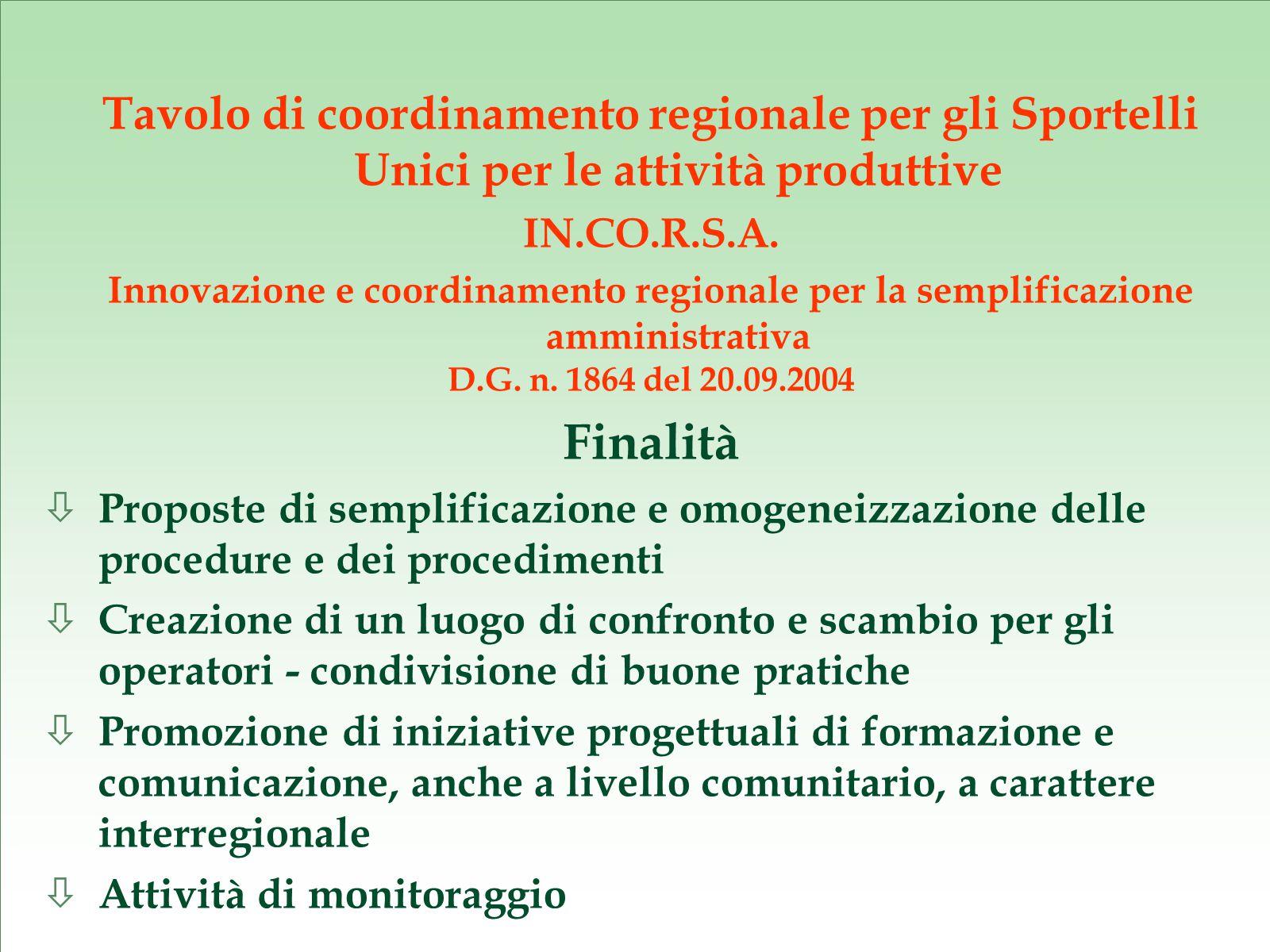 Tavolo di coordinamento regionale per gli Sportelli Unici per le attività produttive IN.CO.R.S.A.