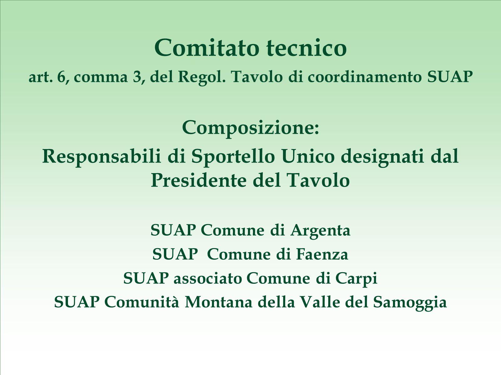 Comitato tecnico art. 6, comma 3, del Regol.