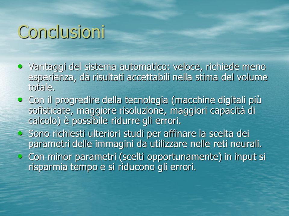 Conclusioni Vantaggi del sistema automatico: veloce, richiede meno esperienza, dà risultati accettabili nella stima del volume totale.