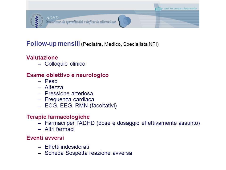 Follow-up mensili ( Pediatra, Medico, Specialista NPI) Valutazione –Colloquio clinico Esame obiettivo e neurologico –Peso –Altezza –Pressione arteriosa –Frequenza cardiaca –ECG, EEG, RMN (facoltativi) Terapie farmacologiche –Farmaci per l'ADHD (dose e dosaggio effettivamente assunto) –Altri farmaci Eventi avversi –Effetti indesiderati –Scheda Sospetta reazione avversa