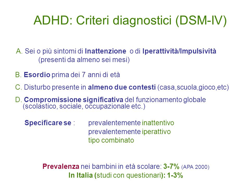 ADHD: Criteri diagnostici (DSM-IV) A.