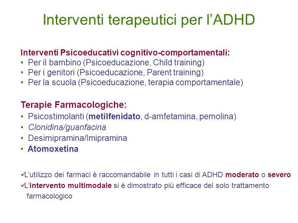 Interventi Psicoeducativi cognitivo-comportamentali: Per il bambino (Psicoeducazione, Child training) Per i genitori (Psicoeducazione, Parent training) Per la scuola (Psicoeducazione, terapia comportamentale) Terapie Farmacologiche: Psicostimolanti (metilfenidato, d-amfetamina, pemolina) Clonidina/guanfacina Desimipramina/Imipramina Atomoxetina L'utilizzo dei farmaci è raccomandabile in tutti i casi di ADHD moderato o severo L'intervento multimodale si è dimostrato più efficace del solo trattamento farmacologico Interventi terapeutici per l'ADHD