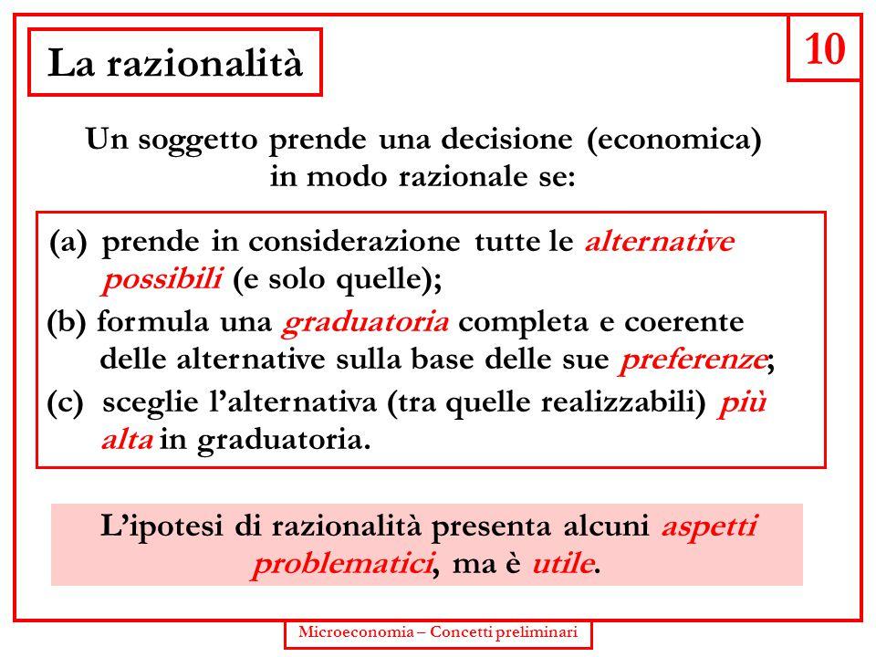 10 Microeconomia – Concetti preliminari La razionalità Un soggetto prende una decisione (economica) in modo razionale se: (b) formula una graduatoria