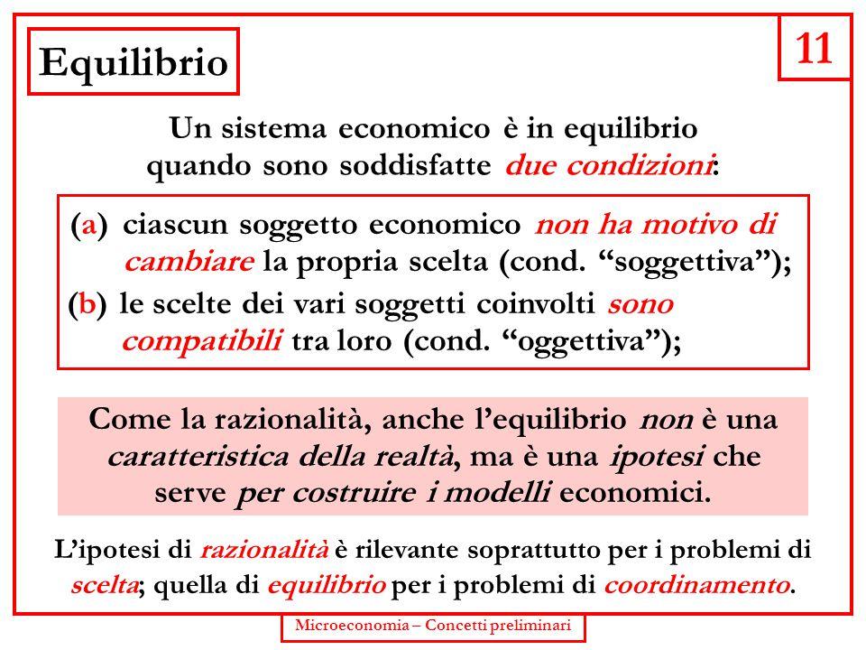 """11 Microeconomia – Concetti preliminari Equilibrio (b) le scelte dei vari soggetti coinvolti sono compatibili tra loro (cond. """"oggettiva""""); (a) ciascu"""
