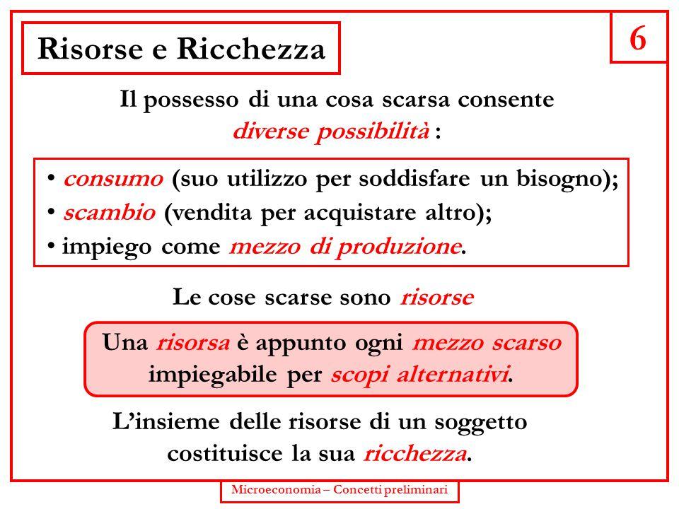 6 Microeconomia – Concetti preliminari Risorse e Ricchezza Il possesso di una cosa scarsa consente diverse possibilità : consumo (suo utilizzo per sod