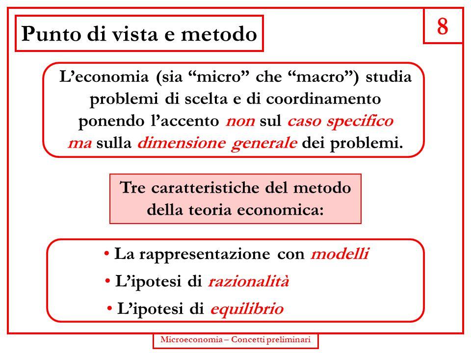 """8 Microeconomia – Concetti preliminari Punto di vista e metodo L'economia (sia """"micro"""" che """"macro"""") studia problemi di scelta e di coordinamento ponen"""