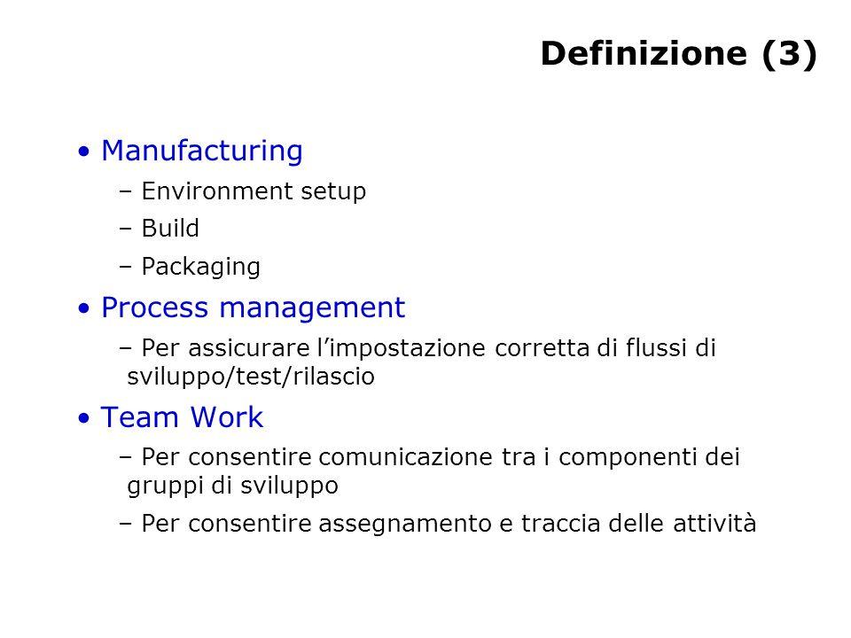Definizione (3) Manufacturing – Environment setup – Build – Packaging Process management – Per assicurare l'impostazione corretta di flussi di sviluppo/test/rilascio Team Work – Per consentire comunicazione tra i componenti dei gruppi di sviluppo – Per consentire assegnamento e traccia delle attività