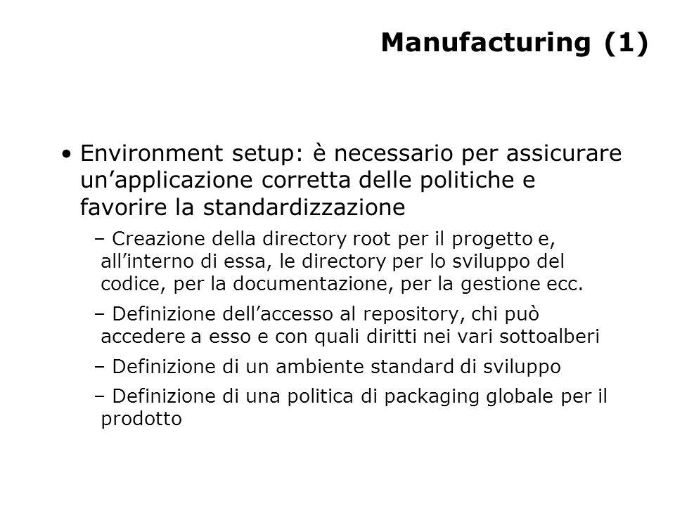 Manufacturing (1) Environment setup: è necessario per assicurare un'applicazione corretta delle politiche e favorire la standardizzazione – Creazione della directory root per il progetto e, all'interno di essa, le directory per lo sviluppo del codice, per la documentazione, per la gestione ecc.