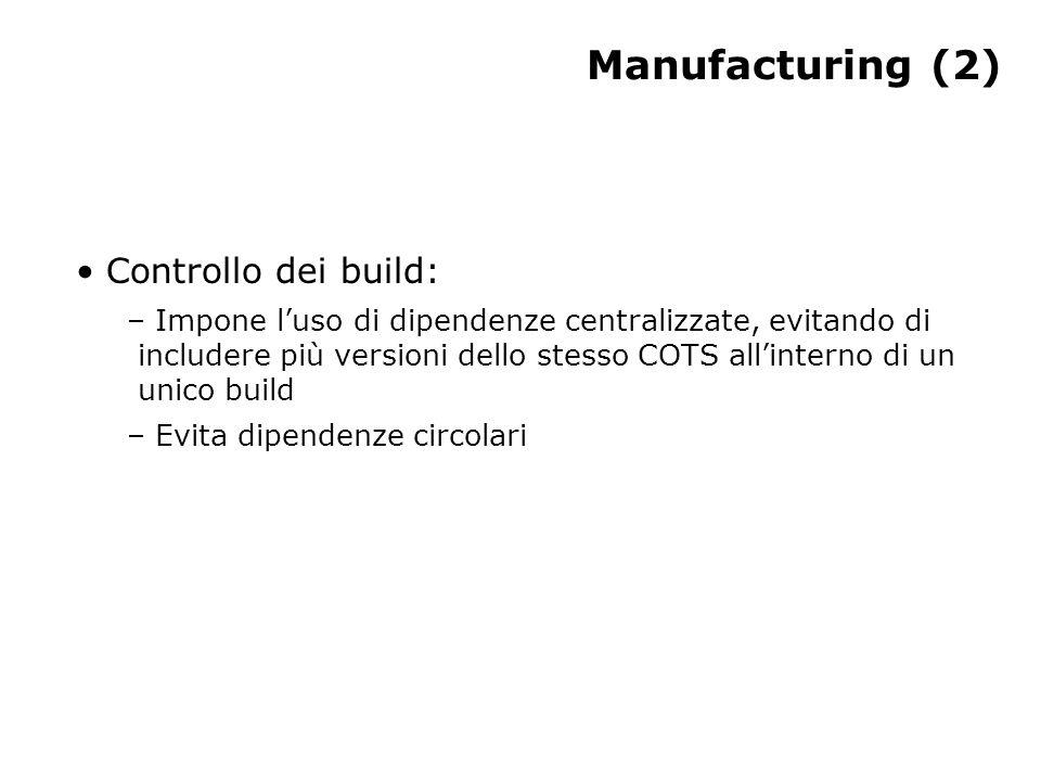 Manufacturing (2) Controllo dei build: – Impone l'uso di dipendenze centralizzate, evitando di includere più versioni dello stesso COTS all'interno di un unico build – Evita dipendenze circolari
