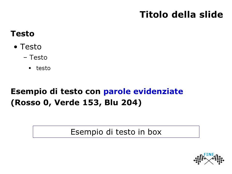 Titolo della slide Testo – Testo  testo Esempio di testo con parole evidenziate (Rosso 0, Verde 153, Blu 204) Esempio di testo in box FINE