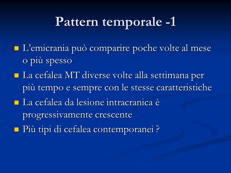 Pattern temporale -1 L'emicrania può comparire poche volte al mese o più spesso L'emicrania può comparire poche volte al mese o più spesso La cefalea