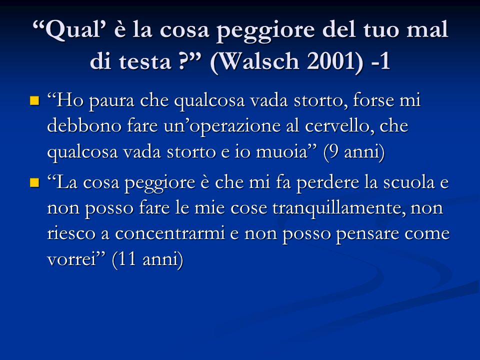 """""""Qual' è la cosa peggiore del tuo mal di testa ?"""" (Walsch 2001) -1 """"Ho paura che qualcosa vada storto, forse mi debbono fare un'operazione al cervello"""