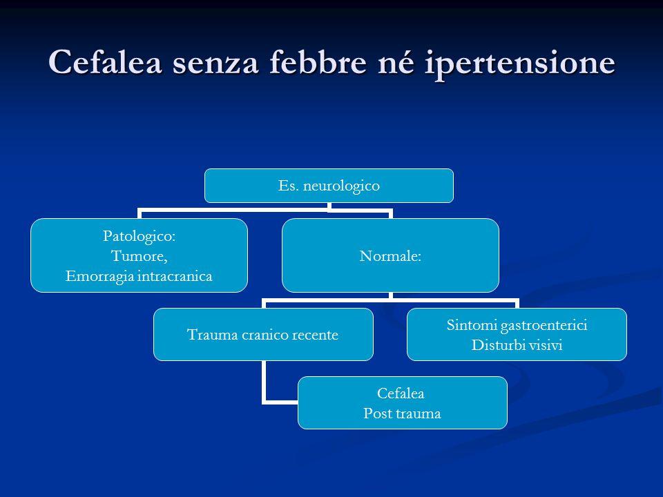 Cefalea senza febbre né ipertensione Es. neurologico Patologico: Tumore, Emorragia intracranica Normale: Trauma cranico recente Cefalea Post trauma Si