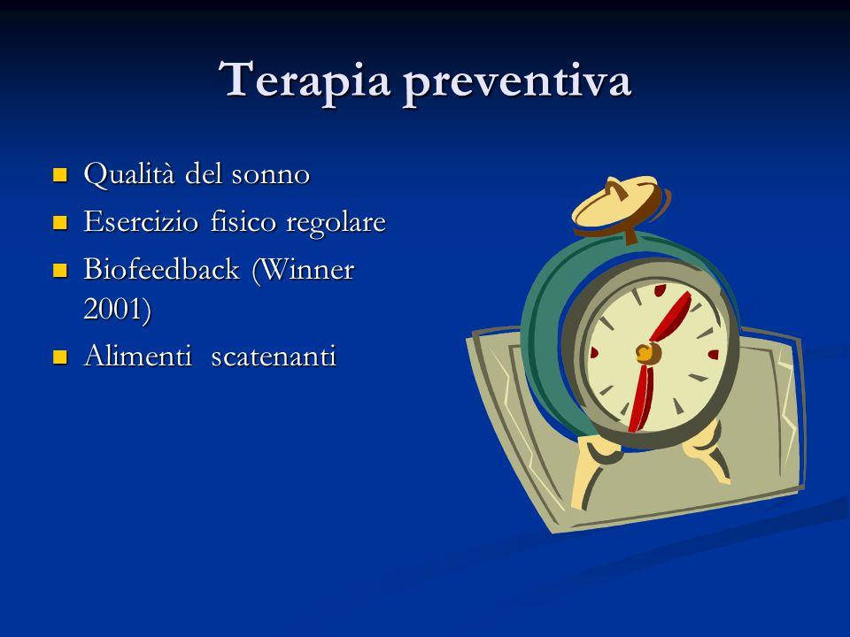 Terapia preventiva Qualità del sonno Qualità del sonno Esercizio fisico regolare Esercizio fisico regolare Biofeedback (Winner 2001) Biofeedback (Winn