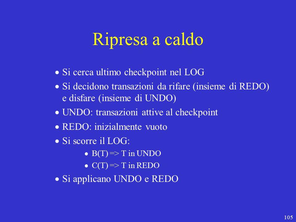 105 Ripresa a caldo  Si cerca ultimo checkpoint nel LOG  Si decidono transazioni da rifare (insieme di REDO) e disfare (insieme di UNDO)  UNDO: transazioni attive al checkpoint  REDO: inizialmente vuoto  Si scorre il LOG:  B(T) => T in UNDO  C(T) => T in REDO  Si applicano UNDO e REDO