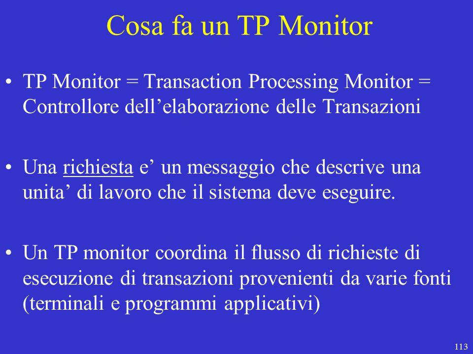 113 Cosa fa un TP Monitor TP Monitor = Transaction Processing Monitor = Controllore dell'elaborazione delle Transazioni Una richiesta e' un messaggio che descrive una unita' di lavoro che il sistema deve eseguire.
