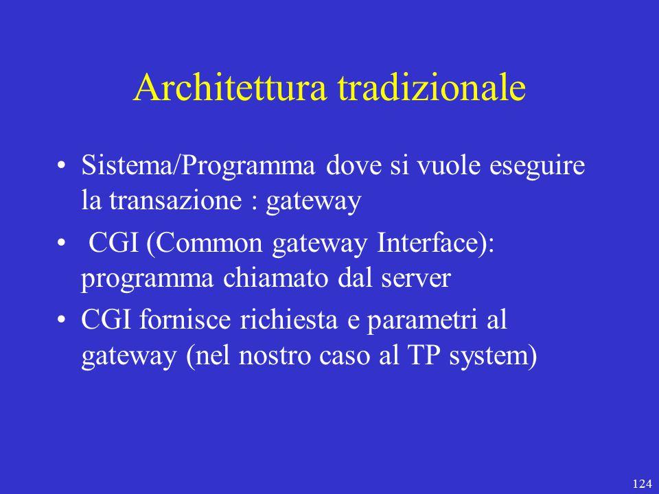124 Architettura tradizionale Sistema/Programma dove si vuole eseguire la transazione : gateway CGI (Common gateway Interface): programma chiamato dal server CGI fornisce richiesta e parametri al gateway (nel nostro caso al TP system)