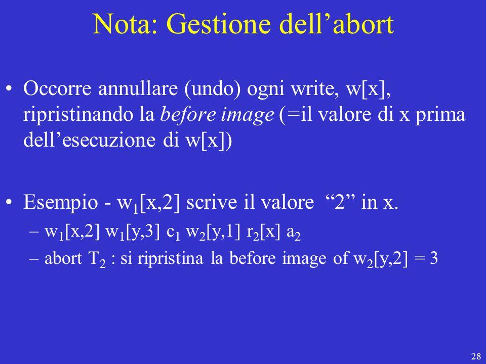 28 Nota: Gestione dell'abort Occorre annullare (undo) ogni write, w[x], ripristinando la before image (=il valore di x prima dell'esecuzione di w[x]) Esempio - w 1 [x,2] scrive il valore 2 in x.