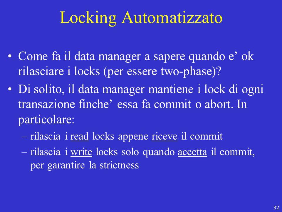 32 Locking Automatizzato Come fa il data manager a sapere quando e' ok rilasciare i locks (per essere two-phase).