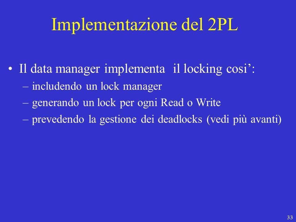 33 Implementazione del 2PL Il data manager implementa il locking cosi': –includendo un lock manager –generando un lock per ogni Read o Write –prevedendo la gestione dei deadlocks (vedi più avanti)