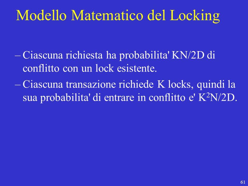 61 Modello Matematico del Locking –Ciascuna richiesta ha probabilita KN/2D di conflitto con un lock esistente.