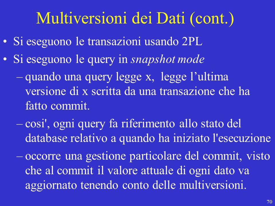 70 Multiversioni dei Dati (cont.) Si eseguono le transazioni usando 2PL Si eseguono le query in snapshot mode –quando una query legge x, legge l'ultima versione di x scritta da una transazione che ha fatto commit.
