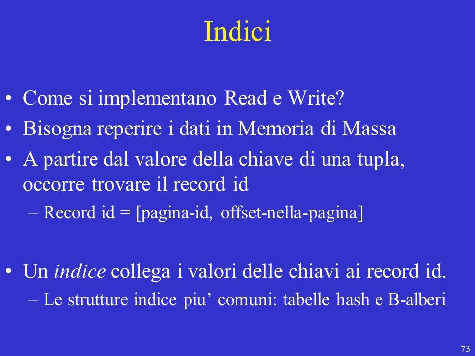 73 Indici Come si implementano Read e Write.