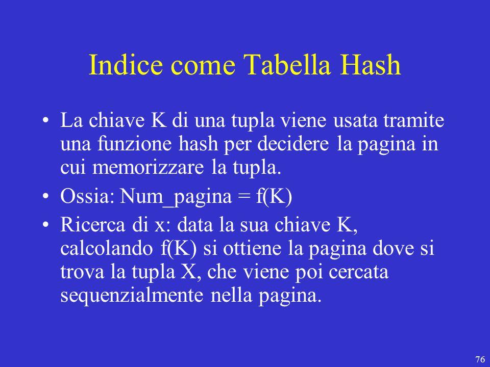76 Indice come Tabella Hash La chiave K di una tupla viene usata tramite una funzione hash per decidere la pagina in cui memorizzare la tupla.