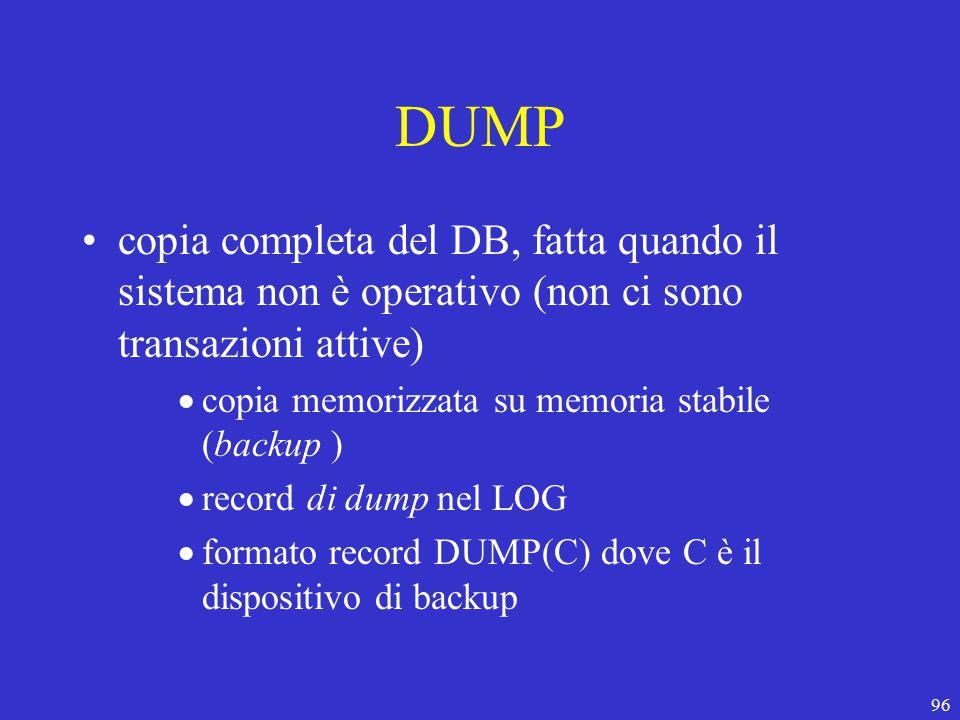96 DUMP copia completa del DB, fatta quando il sistema non è operativo (non ci sono transazioni attive)  copia memorizzata su memoria stabile (backup )  record di dump nel LOG  formato record DUMP(C) dove C è il dispositivo di backup