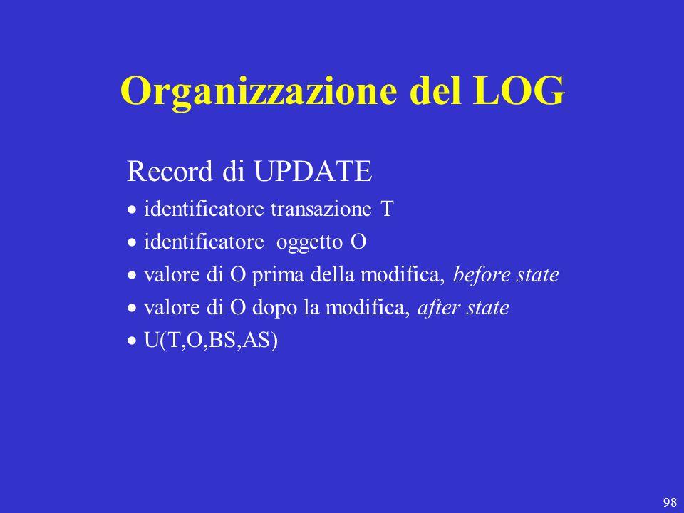 98 Organizzazione del LOG Record di UPDATE  identificatore transazione T  identificatore oggetto O  valore di O prima della modifica, before state  valore di O dopo la modifica, after state  U(T,O,BS,AS)