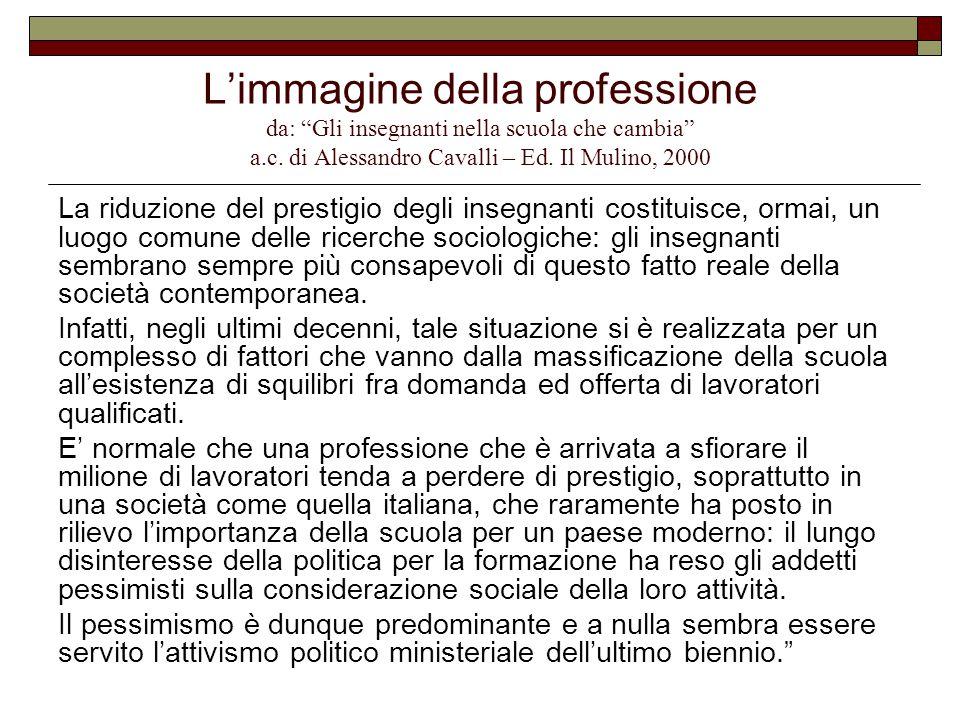 """L'immagine della professione da: """"Gli insegnanti nella scuola che cambia"""" a.c. di Alessandro Cavalli – Ed. Il Mulino, 2000 La riduzione del prestigio"""