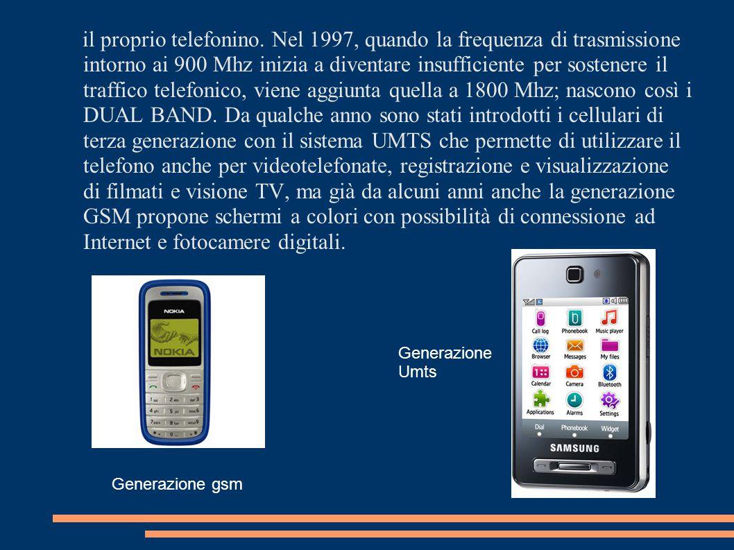 il proprio telefonino. Nel 1997, quando la frequenza di trasmissione intorno ai 900 Mhz inizia a diventare insufficiente per sostenere il traffico tel