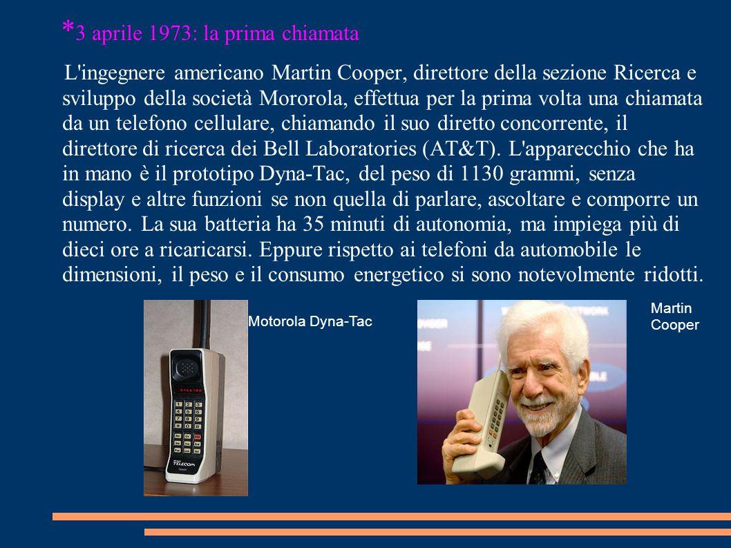 * 3 aprile 1973: la prima chiamata L'ingegnere americano Martin Cooper, direttore della sezione Ricerca e sviluppo della società Mororola, effettua pe
