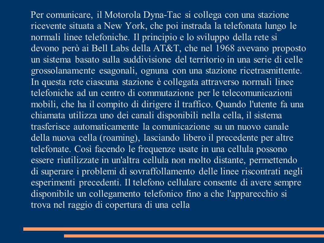 Per comunicare, il Motorola Dyna-Tac si collega con una stazione ricevente situata a New York, che poi instrada la telefonata lungo le normali linee t
