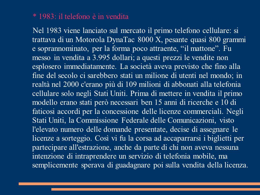BIBLIOGRAFIA http://www.torinoscienza.it/dossier/apri?abj_id2481-8k http://it.wikipedia.org/wiki/Telefono_cellulare http://web.mclink.it/MC8216/storia/storia10.htm Quotidiano Sole 24 Ore