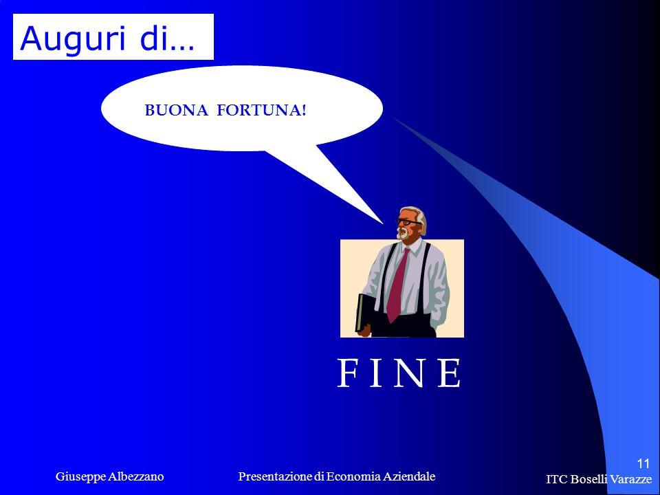 ITC Boselli Varazze Giuseppe Albezzano Presentazione di Economia Aziendale 11 F I N E BUONA FORTUNA.