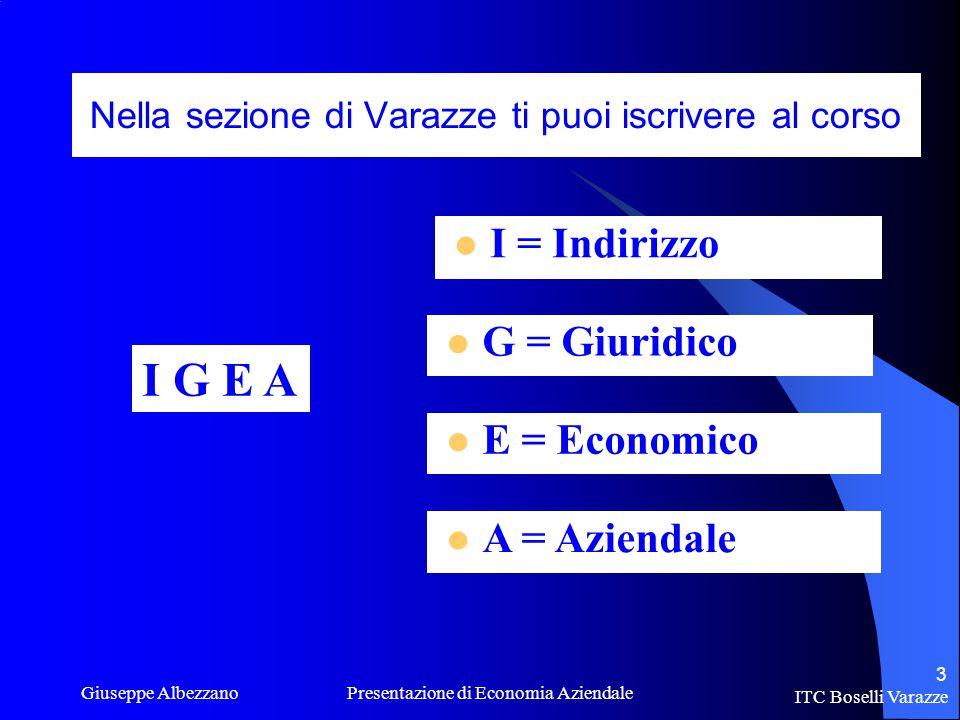 ITC Boselli Varazze Giuseppe Albezzano Presentazione di Economia Aziendale 3 Nella sezione di Varazze ti puoi iscrivere al corso G = Giuridico E = Economico A = Aziendale I G E A I = Indirizzo