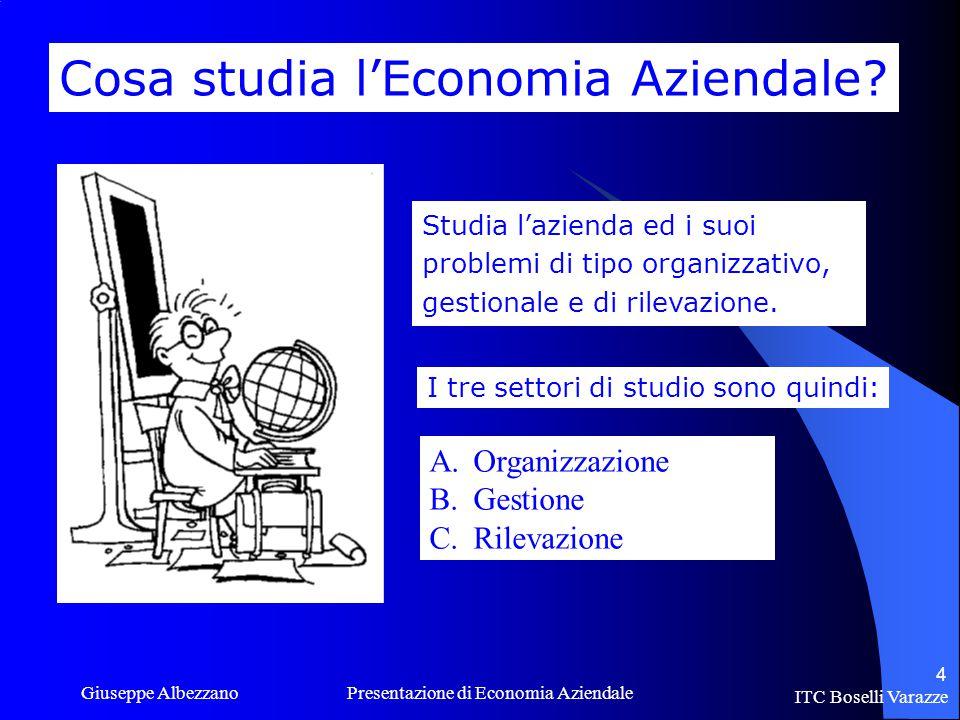 ITC Boselli Varazze Giuseppe Albezzano Presentazione di Economia Aziendale 4 Cosa studia l'Economia Aziendale.