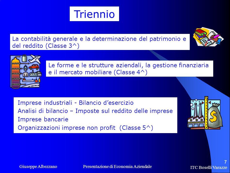 ITC Boselli Varazze Giuseppe Albezzano Presentazione di Economia Aziendale 8 LABORATORIO INFORMATICA La disciplina si avvale di 2 ore di laboratorio di informatica da utilizzare per vari scopi… Contabilità Produzione CD Internet Programmi Ricerche