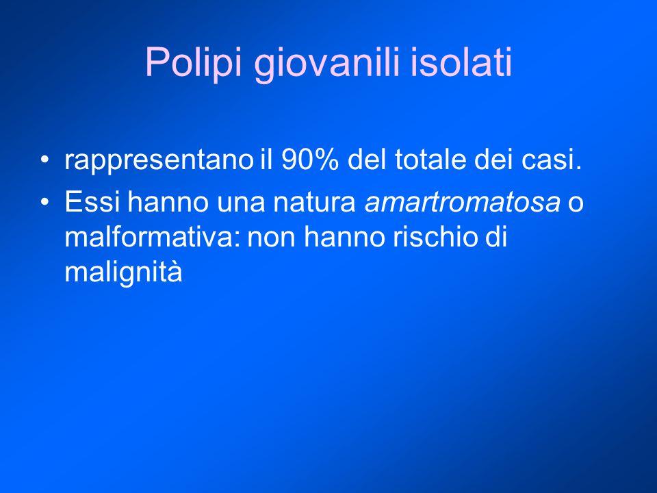 Polipi giovanili isolati rappresentano il 90% del totale dei casi.