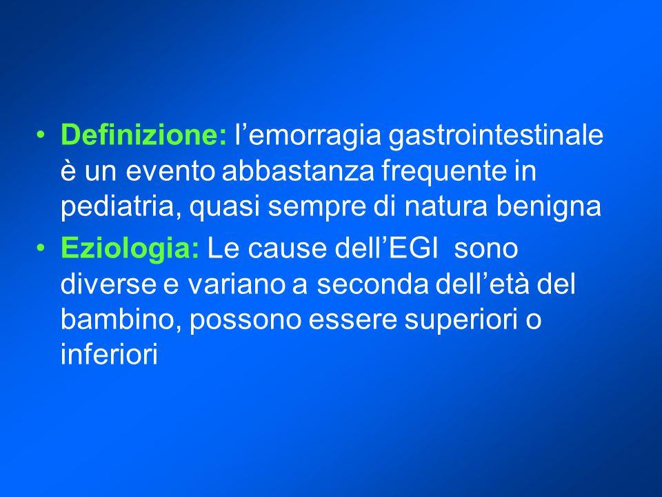 Definizione: l'emorragia gastrointestinale è un evento abbastanza frequente in pediatria, quasi sempre di natura benigna Eziologia: Le cause dell'EGI sono diverse e variano a seconda dell'età del bambino, possono essere superiori o inferiori