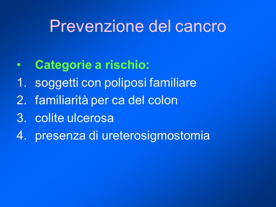 Prevenzione del cancro Categorie a rischio: 1.soggetti con poliposi familiare 2.familiarità per ca del colon 3.colite ulcerosa 4.presenza di ureterosi