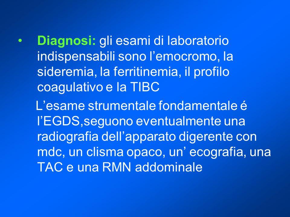 Diagnosi: gli esami di laboratorio indispensabili sono l'emocromo, la sideremia, la ferritinemia, il profilo coagulativo e la TIBC L'esame strumentale