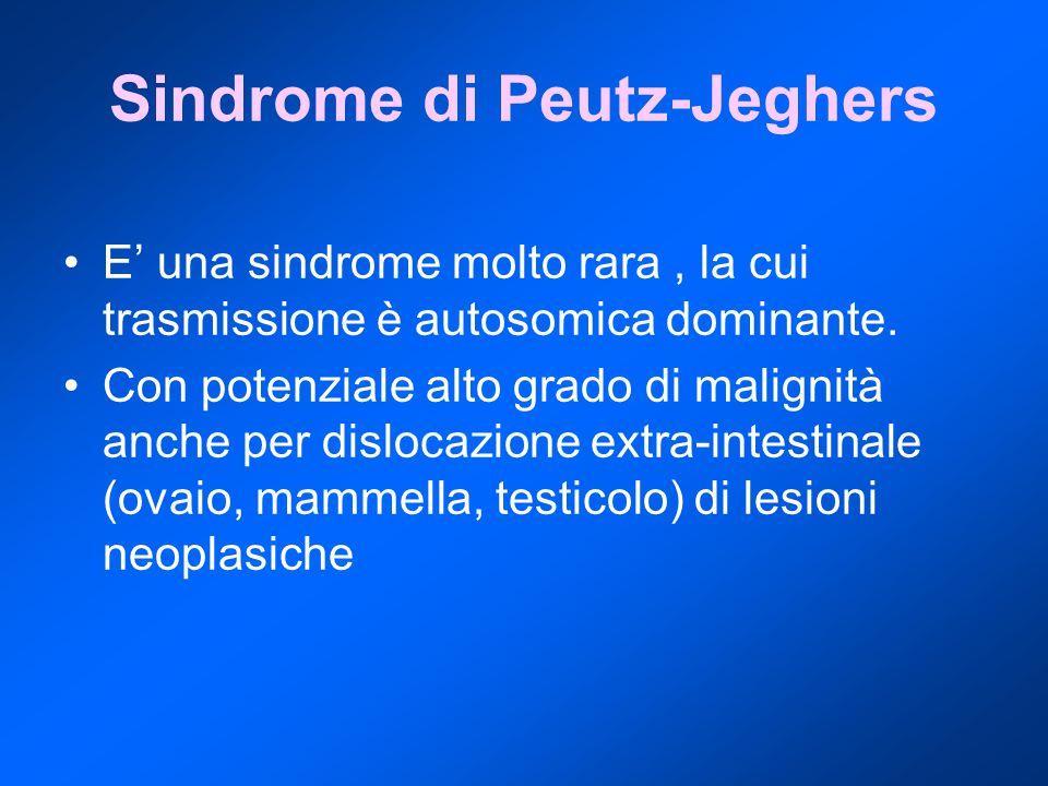 Sindrome di Peutz-Jeghers E' una sindrome molto rara, la cui trasmissione è autosomica dominante. Con potenziale alto grado di malignità anche per dis