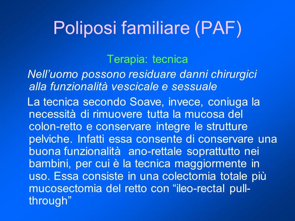 Poliposi familiare (PAF) Terapia: tecnica Nell'uomo possono residuare danni chirurgici alla funzionalità vescicale e sessuale La tecnica secondo Soave