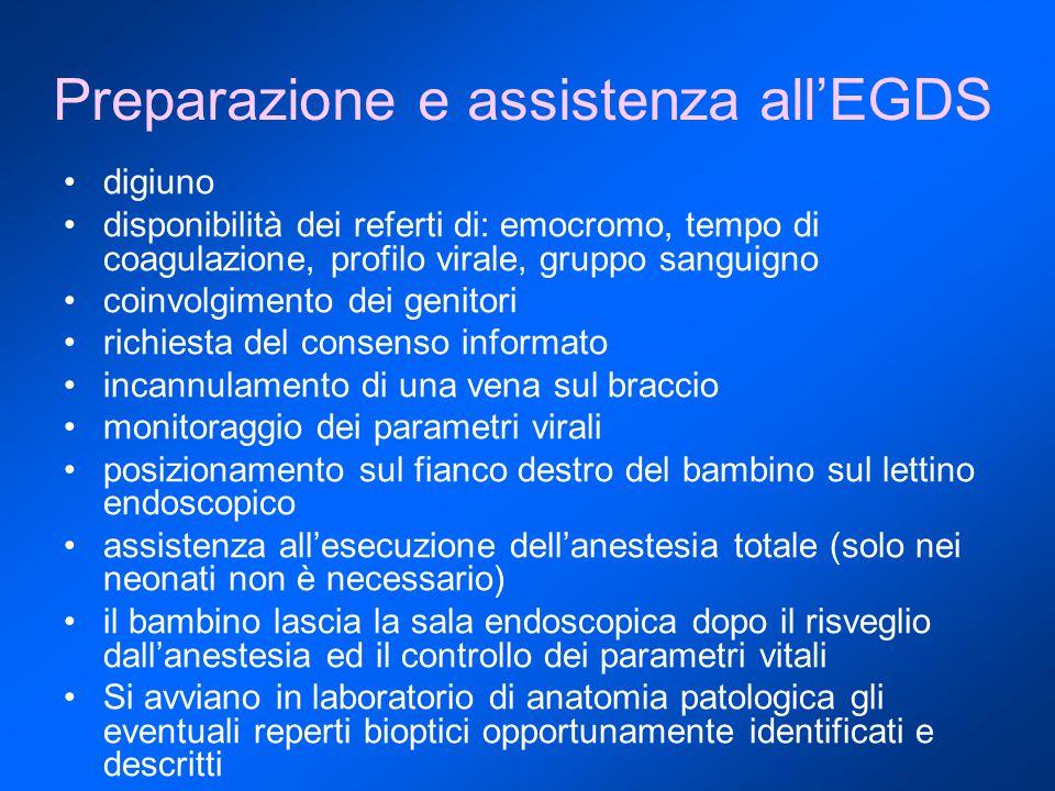 Preparazione e assistenza all'EGDS digiuno disponibilità dei referti di: emocromo, tempo di coagulazione, profilo virale, gruppo sanguigno coinvolgime