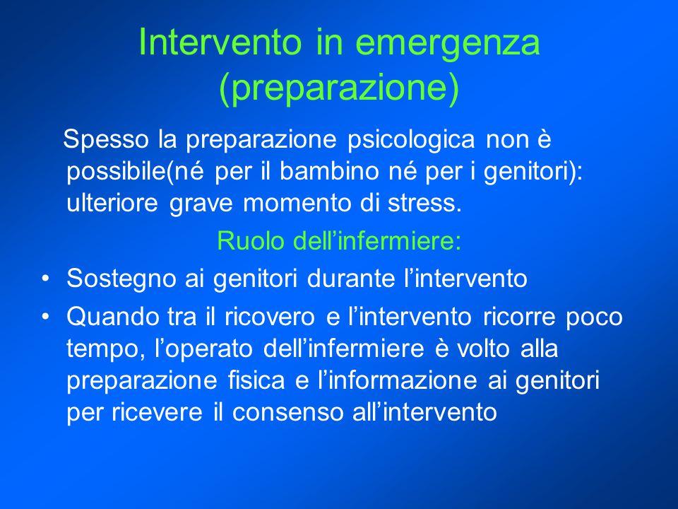 Intervento in emergenza (preparazione) Spesso la preparazione psicologica non è possibile(né per il bambino né per i genitori): ulteriore grave momento di stress.