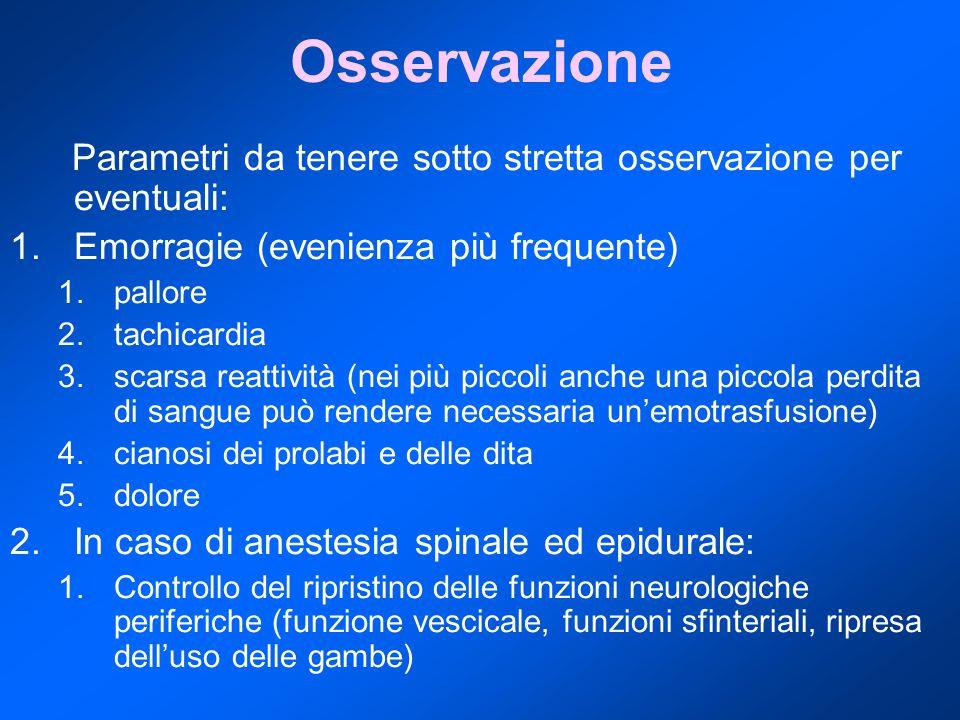 Osservazione Parametri da tenere sotto stretta osservazione per eventuali: 1.Emorragie (evenienza più frequente) 1.pallore 2.tachicardia 3.scarsa reattività (nei più piccoli anche una piccola perdita di sangue può rendere necessaria un'emotrasfusione) 4.cianosi dei prolabi e delle dita 5.dolore 2.In caso di anestesia spinale ed epidurale: 1.Controllo del ripristino delle funzioni neurologiche periferiche (funzione vescicale, funzioni sfinteriali, ripresa dell'uso delle gambe)